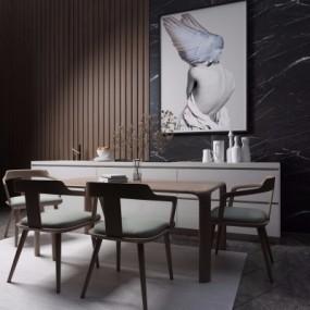 北欧原木餐桌椅组合3D模型【ID:328441451】