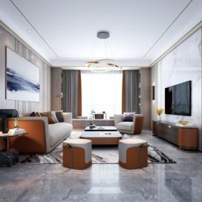 现代客厅3d模型【ID:128414258】