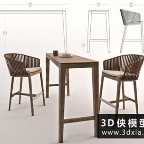 现代吧椅吧台组合国外3D模型【ID:729555789】
