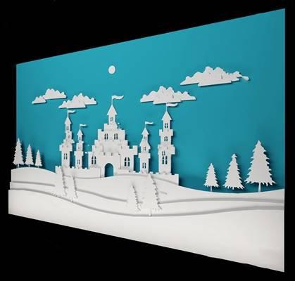 现代墙面3D模型下载【ID:119500154】