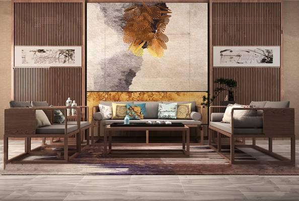 新中式沙发茶几组合3D模型【ID:620014044】