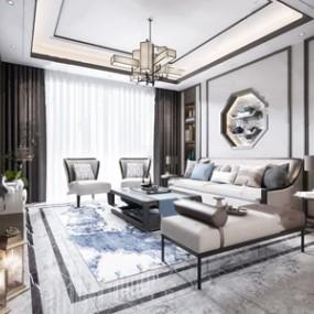 新中式客厅3D模型【ID:541803029】