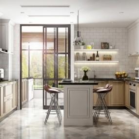 北欧敞开式厨房3d模型【ID:128412459】