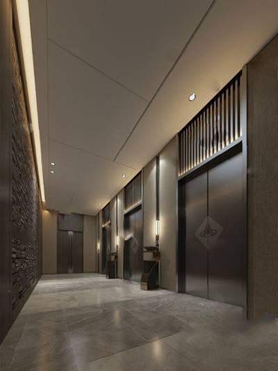 电梯厅3D模型【ID:320026626】