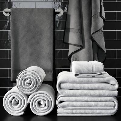 现代毛巾卫浴架组合3D模型【ID:227783134】