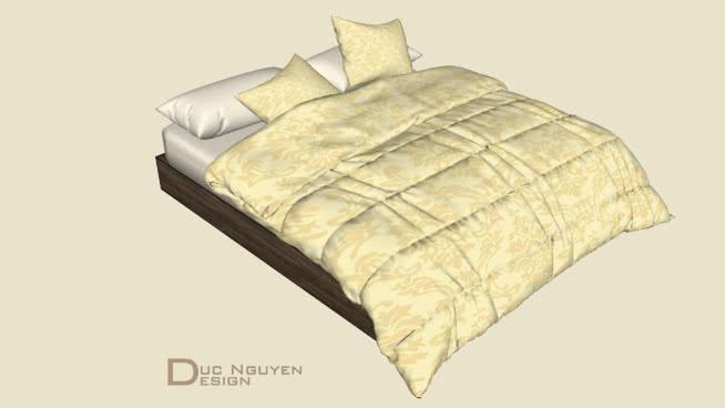 床,臥室,床墊,毯子,枕頭SU模型【ID:538893063】