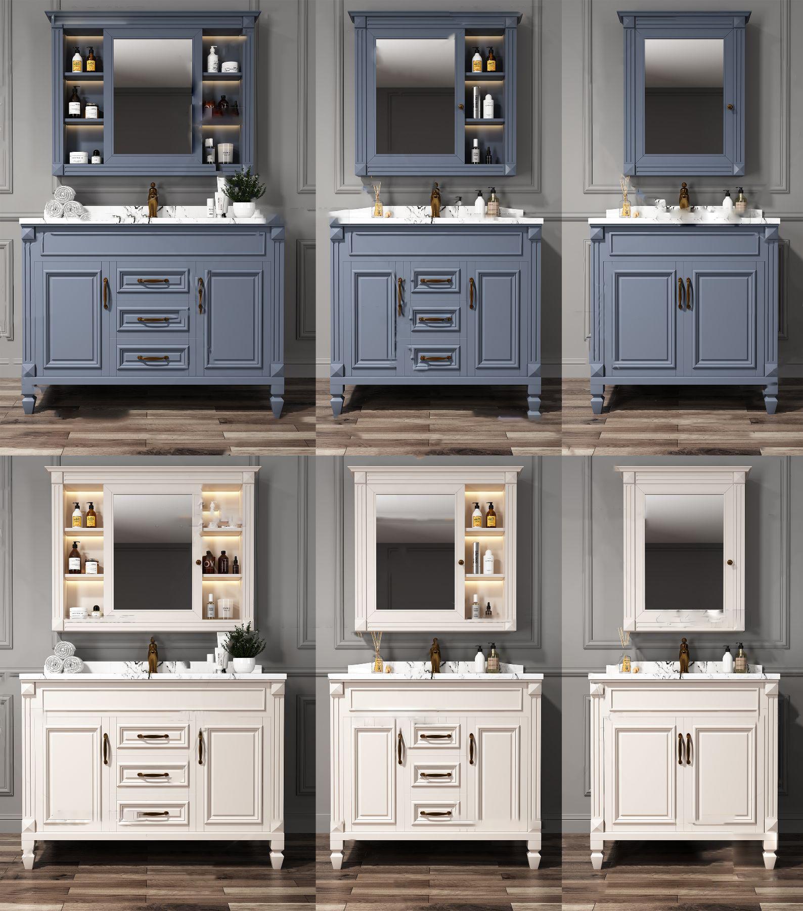 美式浴室柜3D模型【ID:243756481】