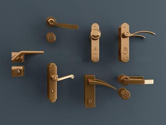 现代门把手组合3D模型【ID:127846357】