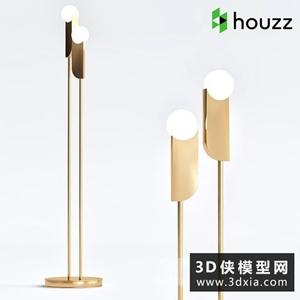 现代金属落地灯国外3D模型【ID:929323021】