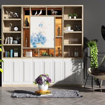 现代装饰柜休闲椅盆栽摆件灯具组合3D模型【ID:927837241】