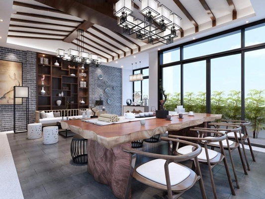 新中式茶室3D模型【ID:127852916】