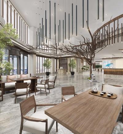 新中式酒店大堂3D模型【ID:427985229】