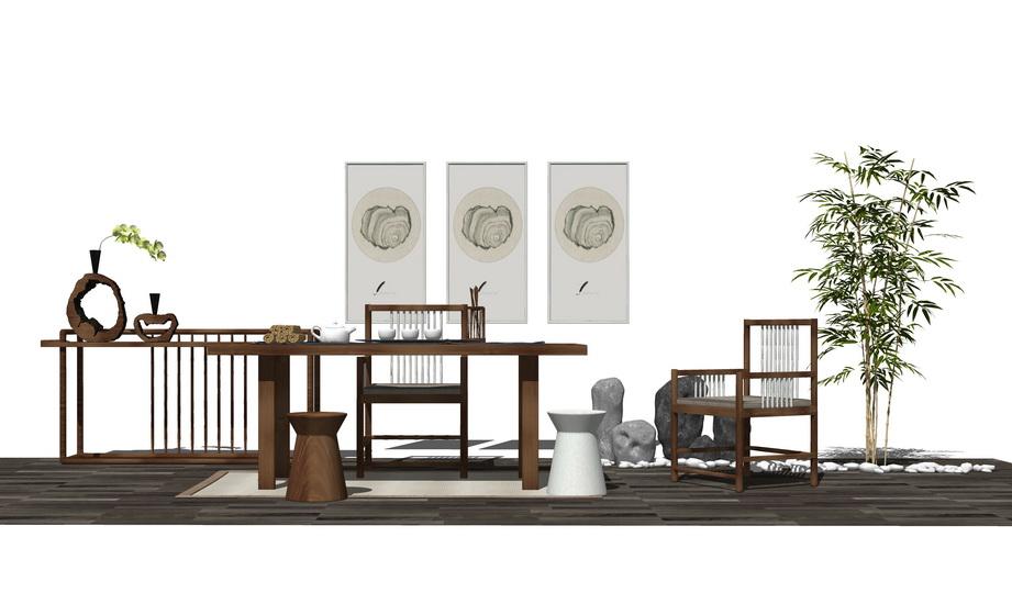 中式茶桌SU模型【ID:436896260】