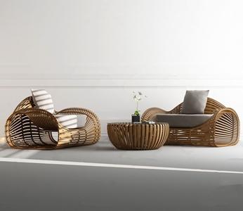 新中式沙发茶几组3D模型【ID:641359730】