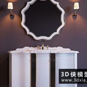 简欧洗手台国外3D模型【ID:829495015】