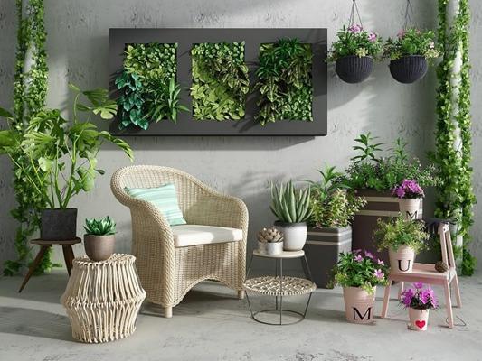 阳台花草植物椅子组合3D模型【ID:327910835】