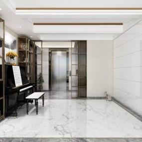 现代钢琴房书房3D模型【ID:928191123】