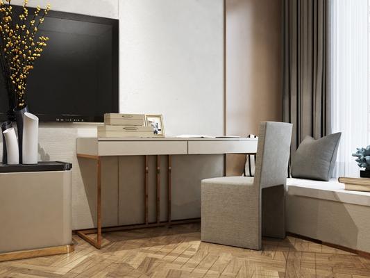 现代梳妆台椅组合3D模型【ID:228238645】