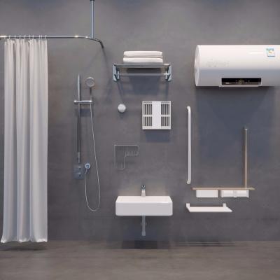 現代臺盤浴室架熱水器花灑組合3D模型【ID:128402738】