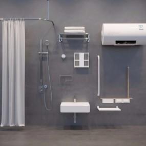 现代台盘浴室架热水器花洒组合3D模型【ID:128402738】
