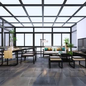 新中式屋顶阳光房3D模型【ID:327792446】