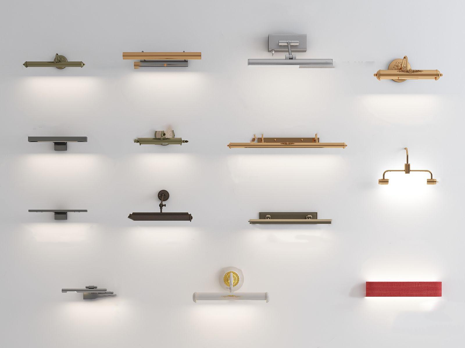 现代金属壁灯组合3D模型【ID:743274933】