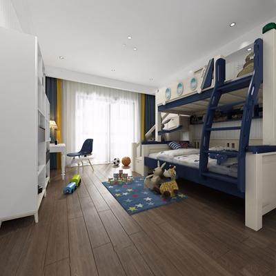 現代兒童房高低床3D模型【ID:728304276】