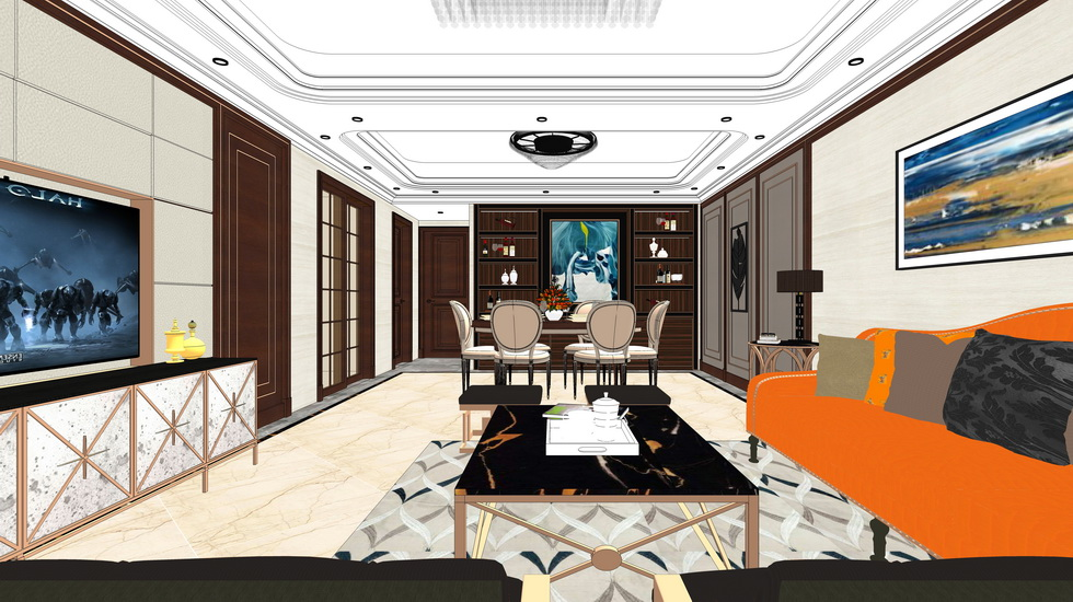 新古典客厅餐厅卧室室内设计SU模型【ID:936903816】