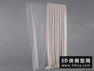 现代窗帘国外3D模型【ID:329681828】