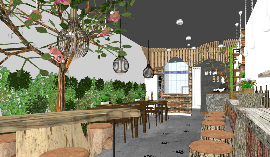 现代餐厅室内设计SU模型【ID:636904067】