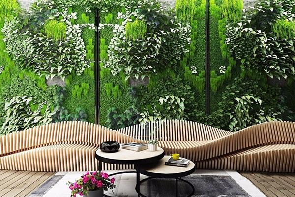 綠植墻戶外植物墻花草墻座椅茶幾3D模型【ID:328250883】