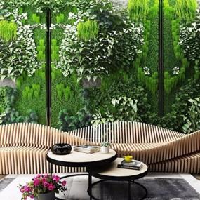 绿植墙户外植物墙花草墙座椅茶几3D模型【ID:328250883】
