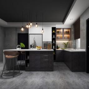 工业风敞开式厨房3D模型【ID:128401491】