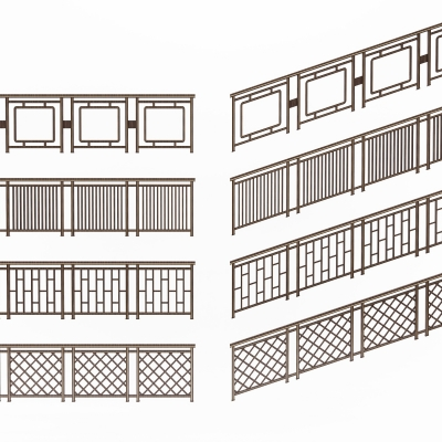 中式金属栏杆扶手3D模型【ID:828474560】