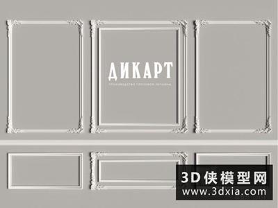 欧式墙面雕花线条国外3D模型【ID:929582680】