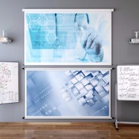 现代投影仪移动白板组合3D模型【ID:928559543】