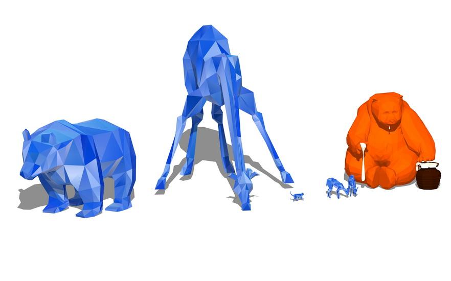动物雕塑小品组合SU模型【ID:636906674】