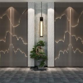 中式背景墙迎客松组合3D模型【ID:127762131】