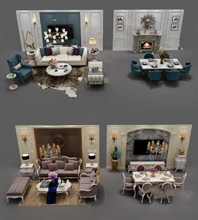现代沙发茶几组合3D模型【ID:626225011】
