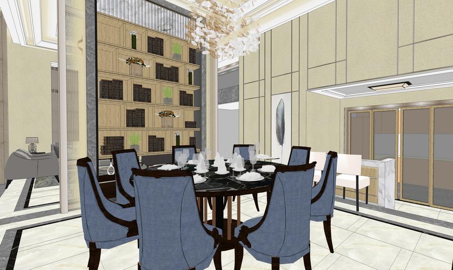 现代别墅客厅餐厅室内设计SU模型【ID:936907858】