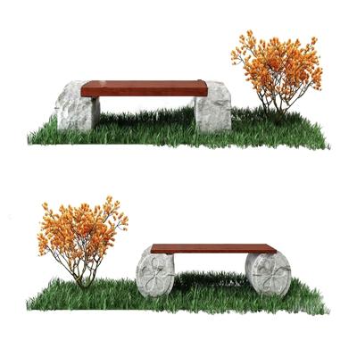园林景观石头长凳3D模型【ID:734039514】