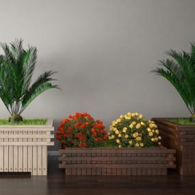 现代铁树月季花坛3D模型【ID:328442825】