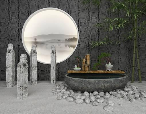 中式园艺小品3D模型【ID:124883803】