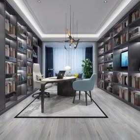 现代书房3d模型【ID:128414751】