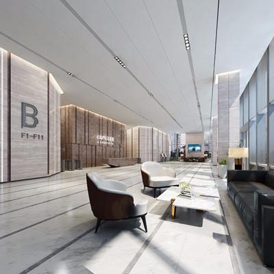 现代办公大厅3D模型【ID:934041269】