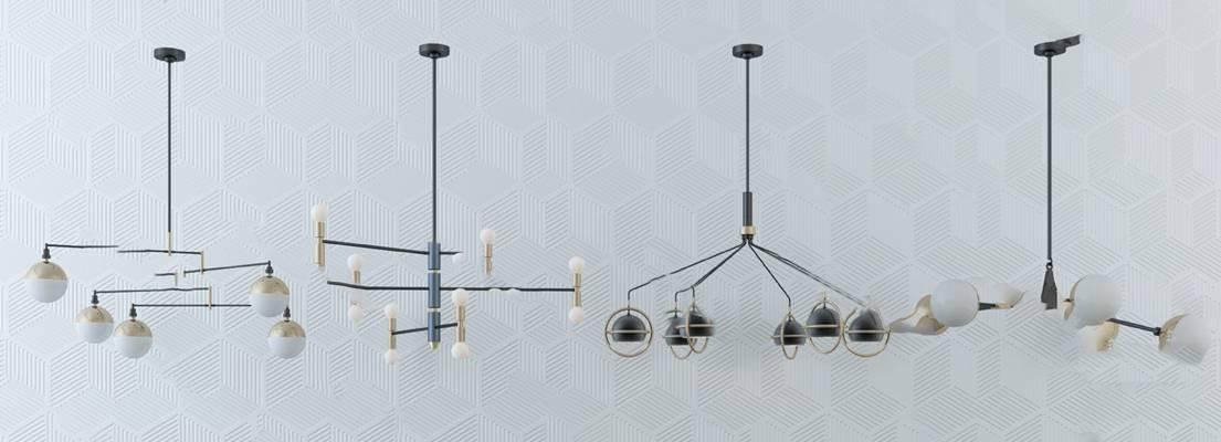 现代吊灯3D模型【ID:220606841】