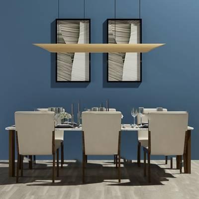 现代桌椅组合3D模型下载【ID:319453412】