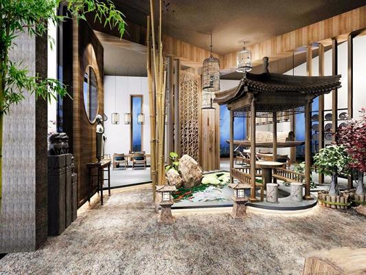 新中式茶楼3D模型【ID:427982124】