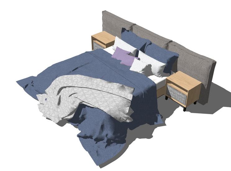 現代雙人床SU模型【ID:536914281】