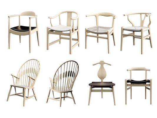 現代中式椅子組合3D模型【ID:327899477】